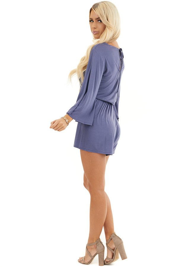 Stormy Blue Jersey Knit Romper with Long Flare Sleeves side full body