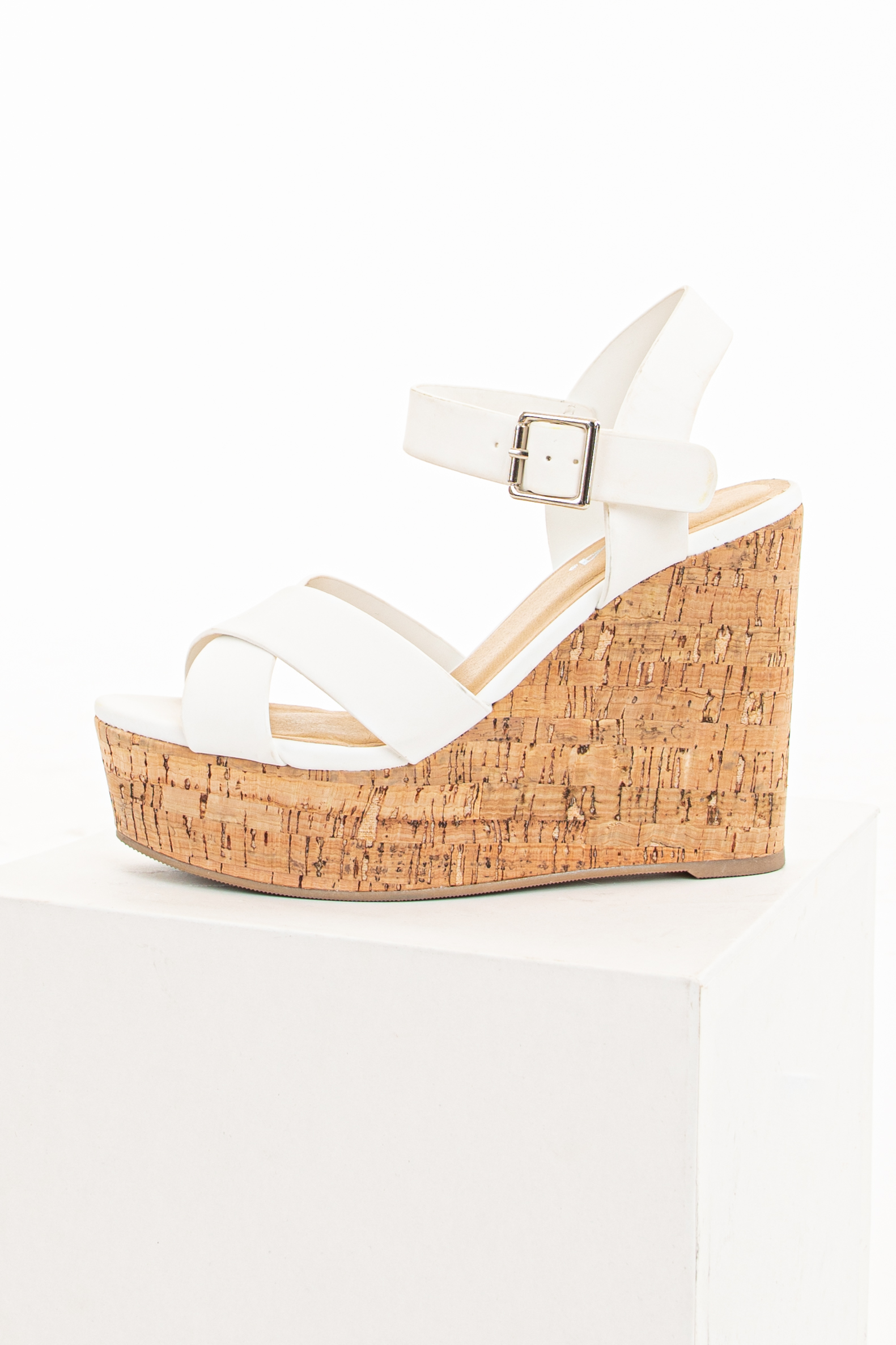 White Criss Cross Strap Cork Wedge Heels with Ankle Straps