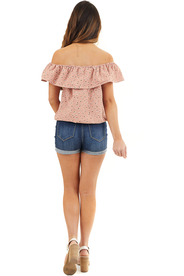 Deep Salmon Ditsy Print Off Shoulder Top with Ruffle Overlay back full body