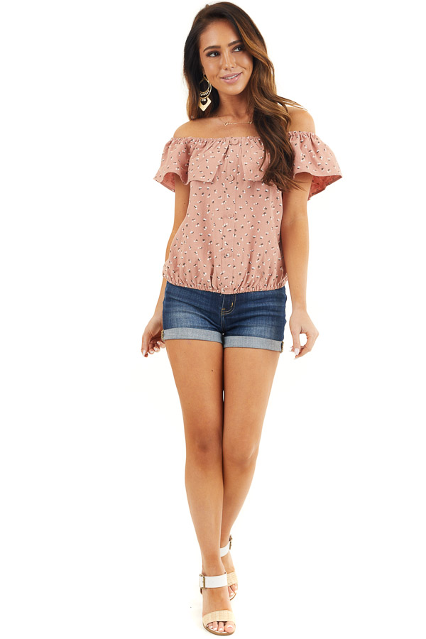 Deep Salmon Ditsy Print Off Shoulder Top with Ruffle Overlay front full body