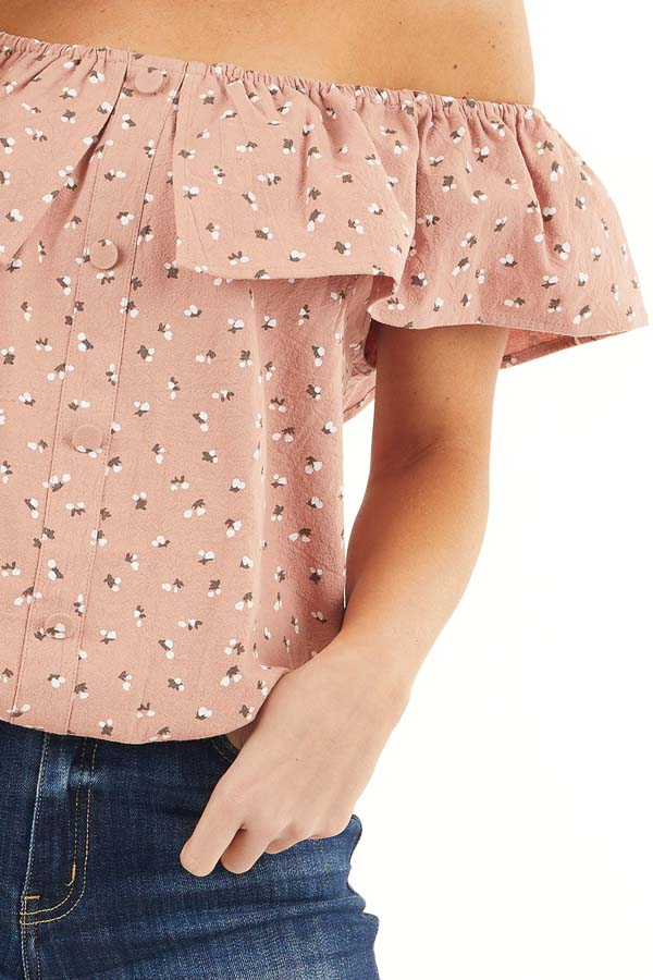 Deep Salmon Ditsy Print Off Shoulder Top with Ruffle Overlay detail