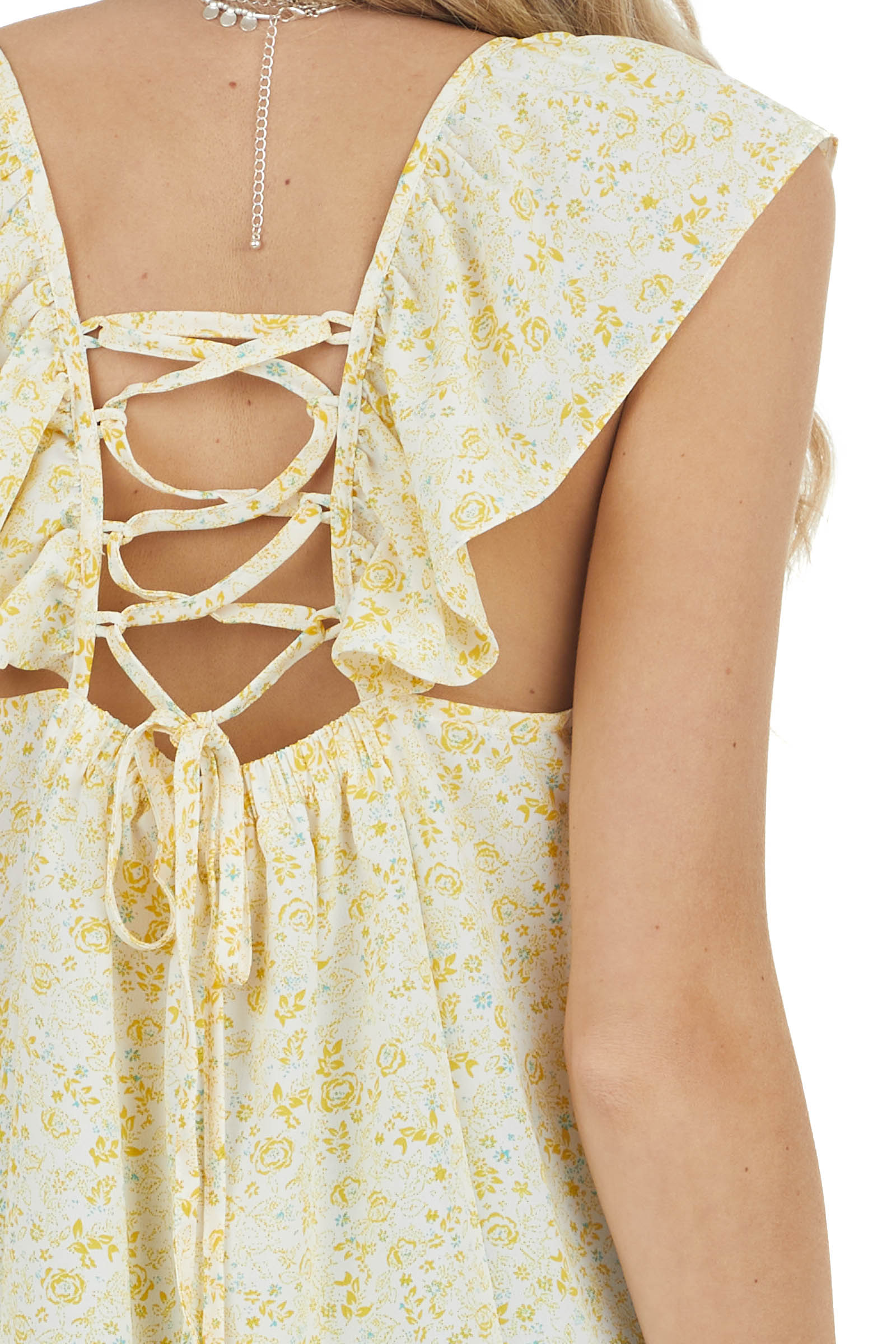 Amber and White Floral Print Top with Lace Up Back Detail