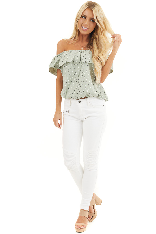 Sage Ditsy Print Off Shoulder Top with Ruffle Overlay front full body