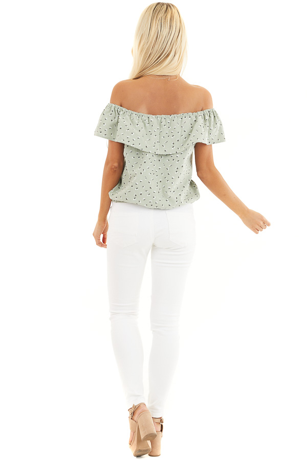 Sage Ditsy Print Off Shoulder Top with Ruffle Overlay back full body