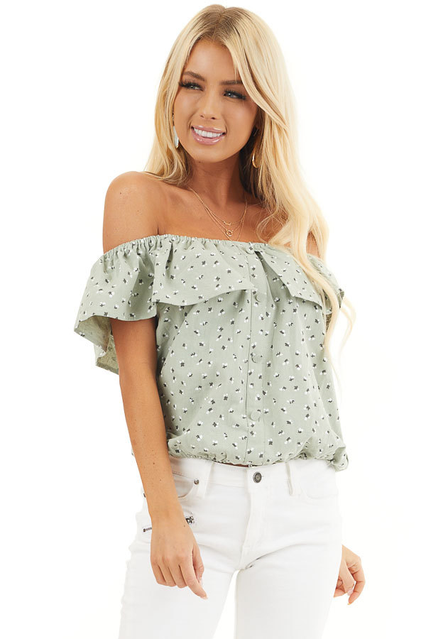 Sage Ditsy Print Off Shoulder Top with Ruffle Overlay front close up