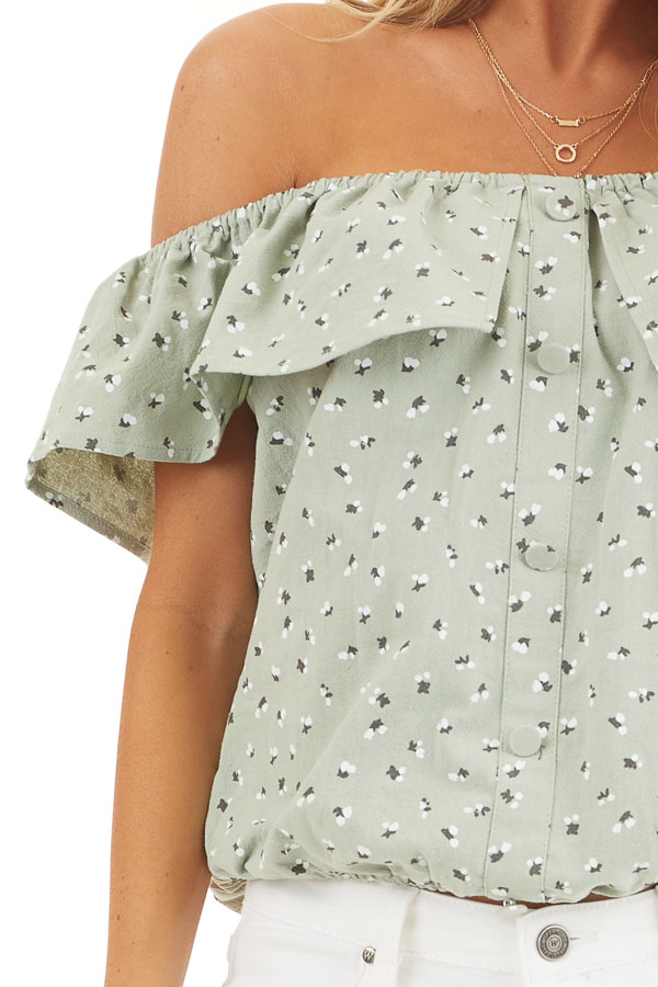 Sage Ditsy Print Off Shoulder Top with Ruffle Overlay detail