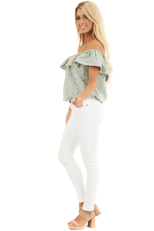 Sage Ditsy Print Off Shoulder Top with Ruffle Overlay side full body
