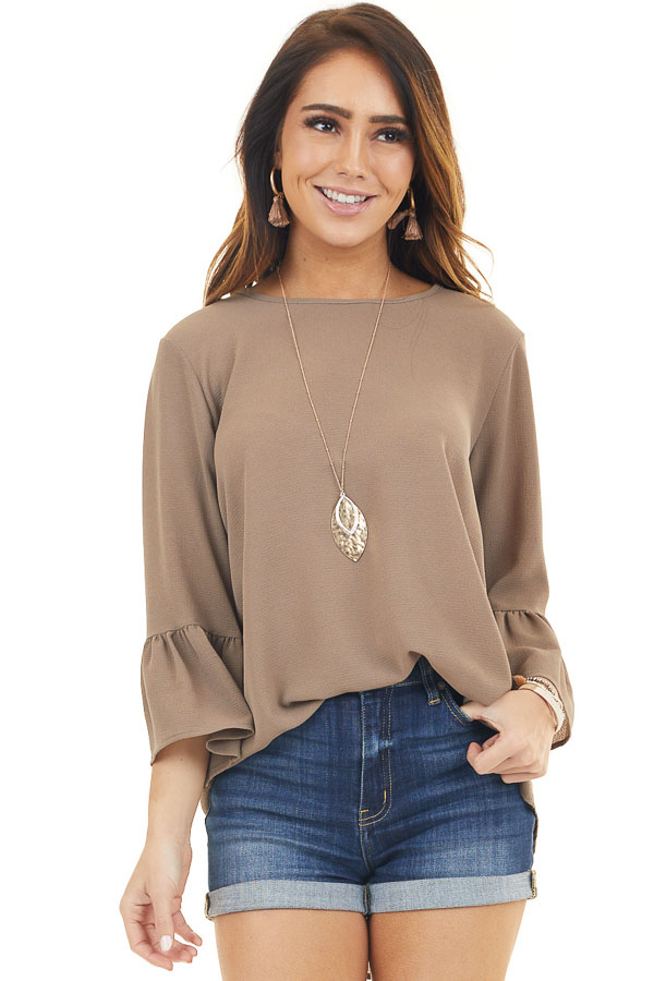 Latte Textured Woven Top with Long Sleeves front close up