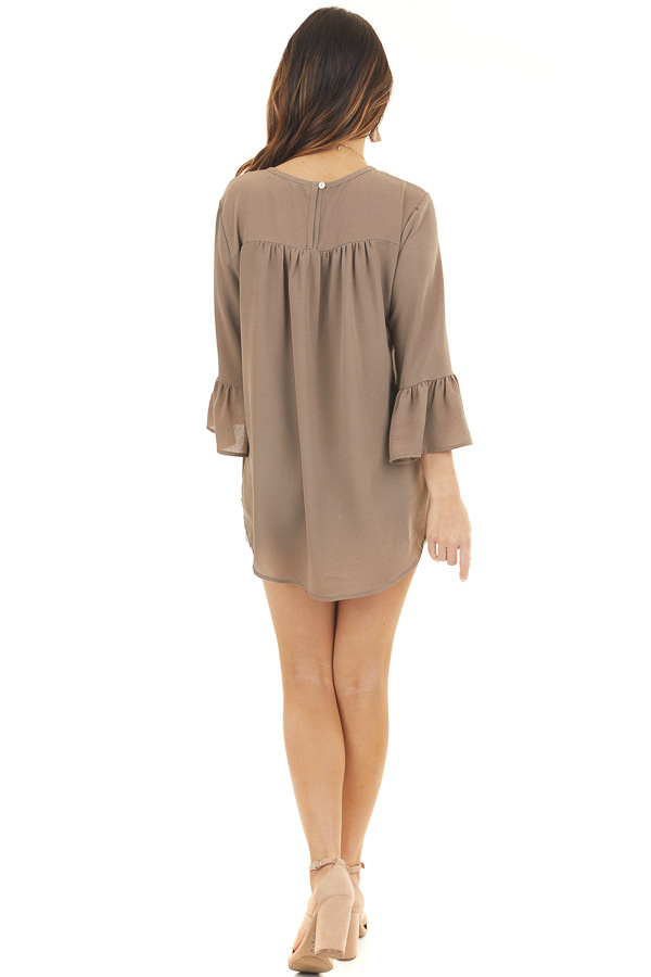 Latte Textured Woven Top with Long Sleeves back full body