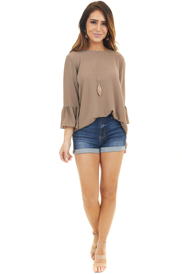 Latte Textured Woven Top with Long Sleeves front full body