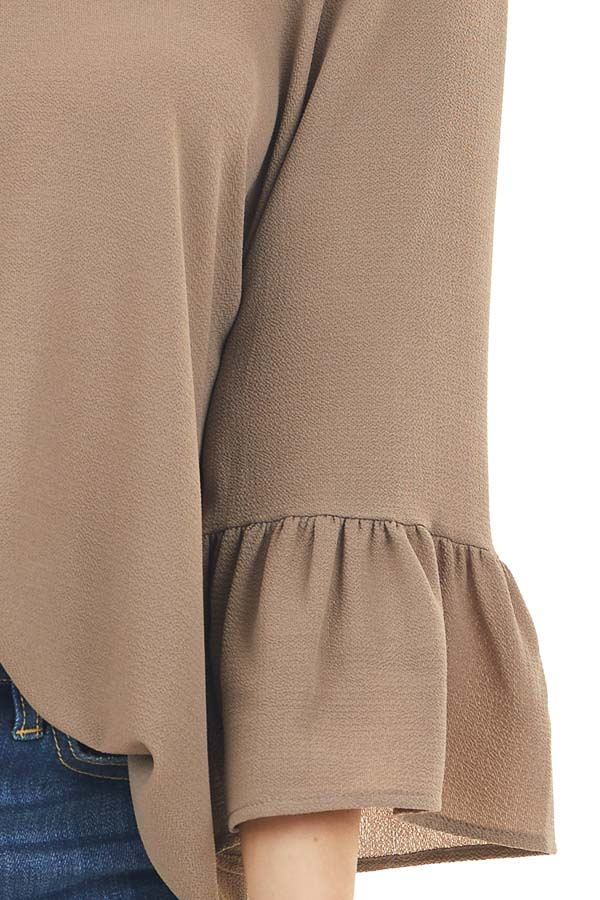 Latte Textured Woven Top with Long Sleeves detail