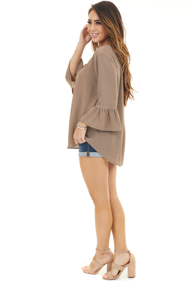 Latte Textured Woven Top with Long Sleeves side full body
