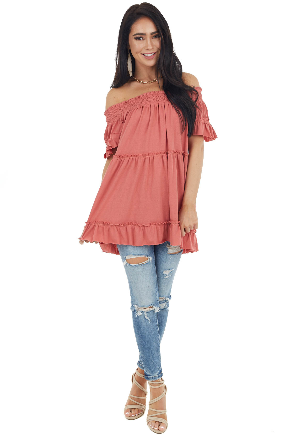 Coral Off Shoulder Tiered Tunic Top with Short Sleeves