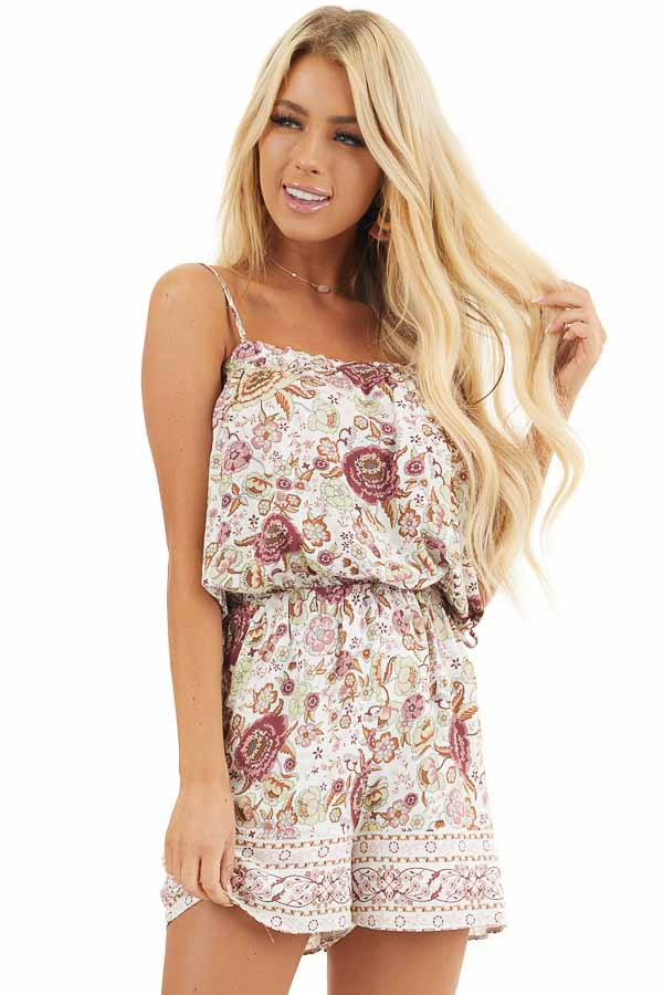 Dusty Rose Floral Spaghetti Strap Romper with Side Ties front close up