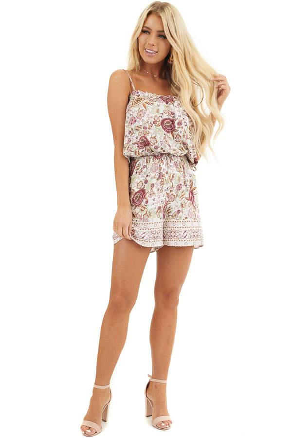 Dusty Rose Floral Spaghetti Strap Romper with Side Ties front full body