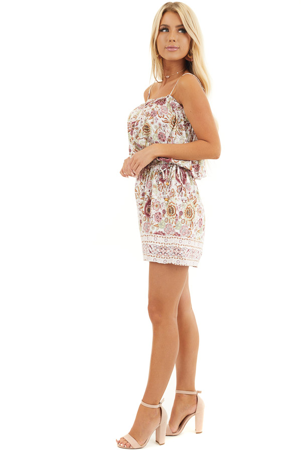 Dusty Rose Floral Spaghetti Strap Romper with Side Ties side full body