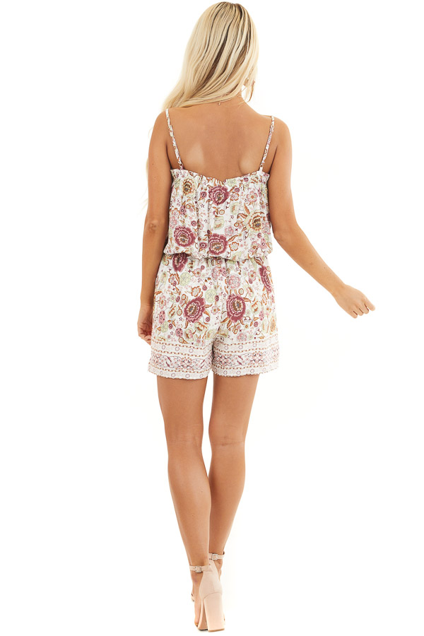 Dusty Rose Floral Spaghetti Strap Romper with Side Ties back full body