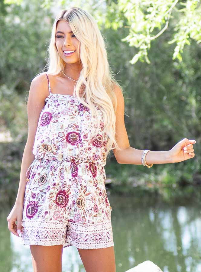 Dusty Rose Floral Spaghetti Strap Romper with Side Ties