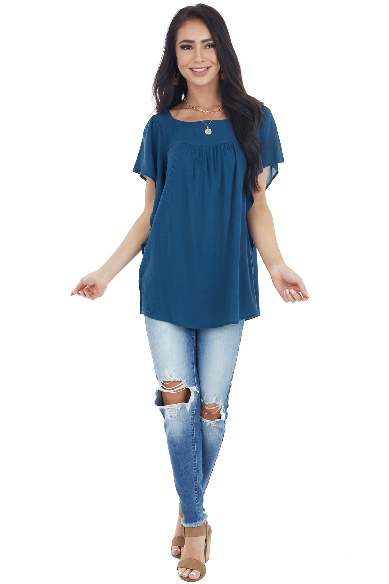 Dark Teal Woven Top with Short Batwing Sleeves