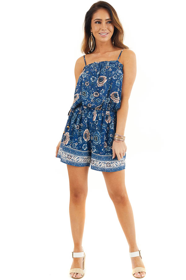 Deep Blue Floral Spaghetti Strap Romper with Side Ties front full body