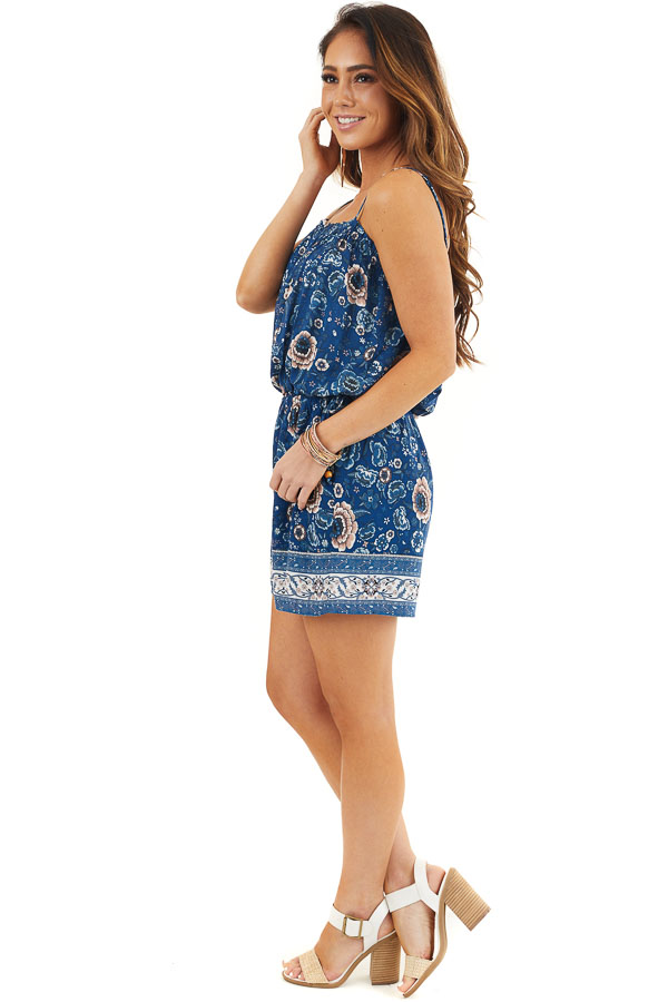 Deep Blue Floral Spaghetti Strap Romper with Side Ties side full body