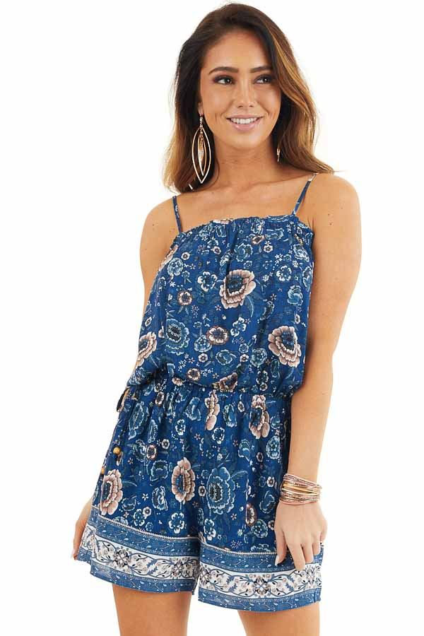 Deep Blue Floral Spaghetti Strap Romper with Side Ties front close up
