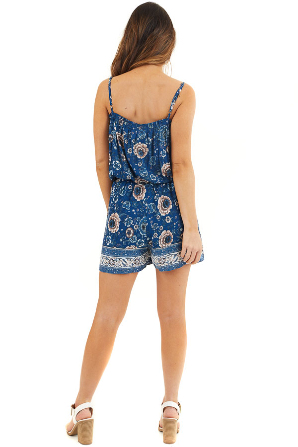 Deep Blue Floral Spaghetti Strap Romper with Side Ties back full body