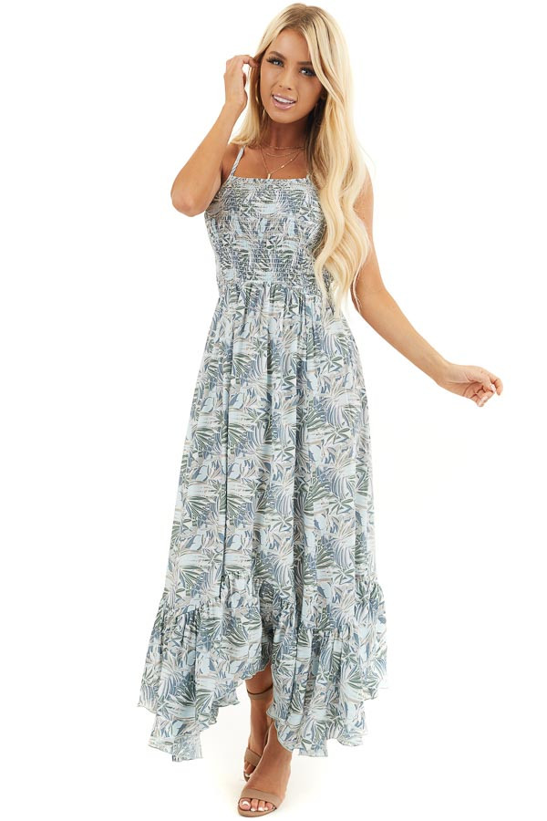 Baby Blue Tropical Print Smocked Halter Maxi Dress front full body