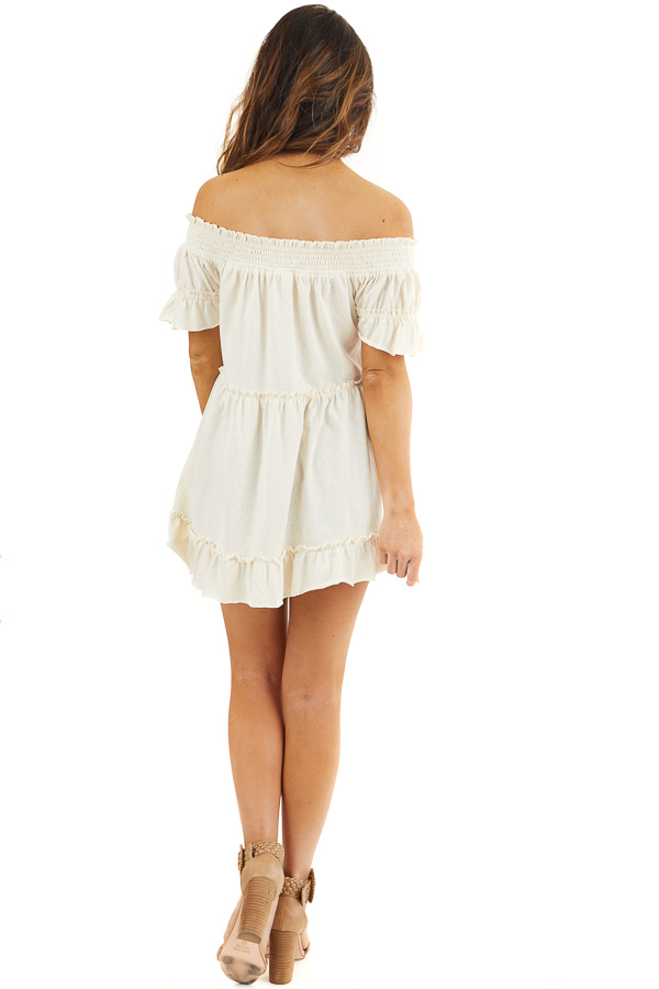 Cream Off Shoulder Tiered Tunic Top with Short Sleeves back full body