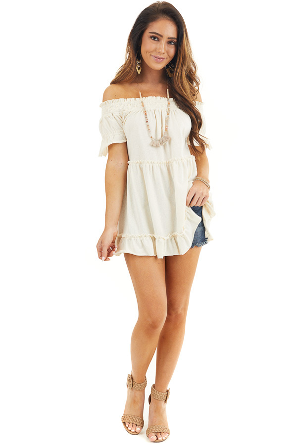 Cream Off Shoulder Tiered Tunic Top with Short Sleeves front full body