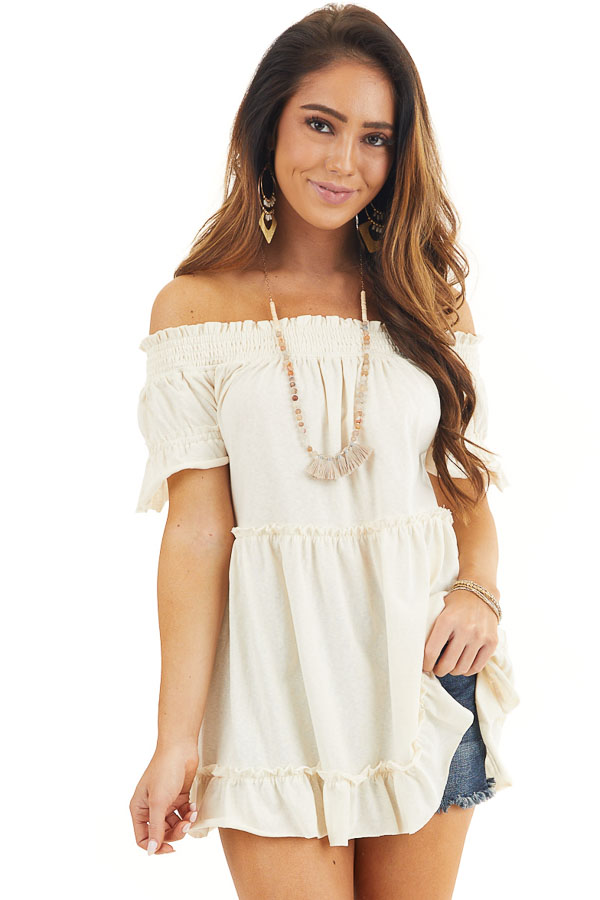 Cream Off Shoulder Tiered Tunic Top with Short Sleeves front close up