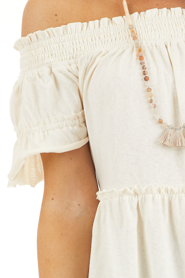 Cream Off Shoulder Tiered Tunic Top with Short Sleeves detail