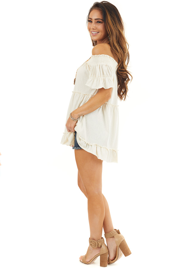 Cream Off Shoulder Tiered Tunic Top with Short Sleeves side full body