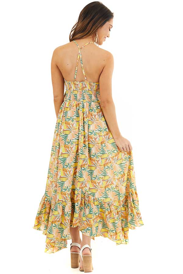 Yellow Tropical Print Smocked Halter Maxi Dress back full body