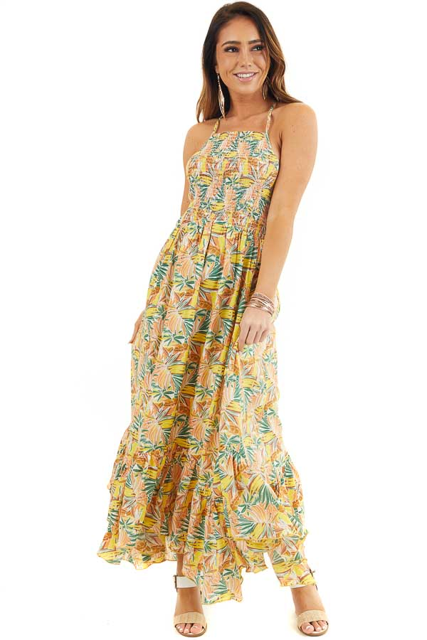 Yellow Tropical Print Smocked Halter Maxi Dress front full body