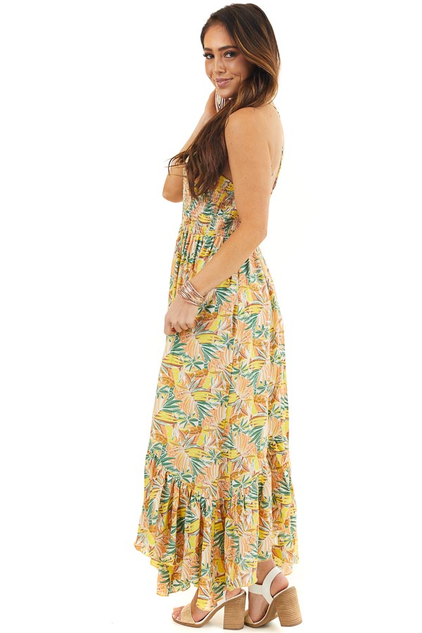 Yellow Tropical Print Smocked Halter Maxi Dress side full body