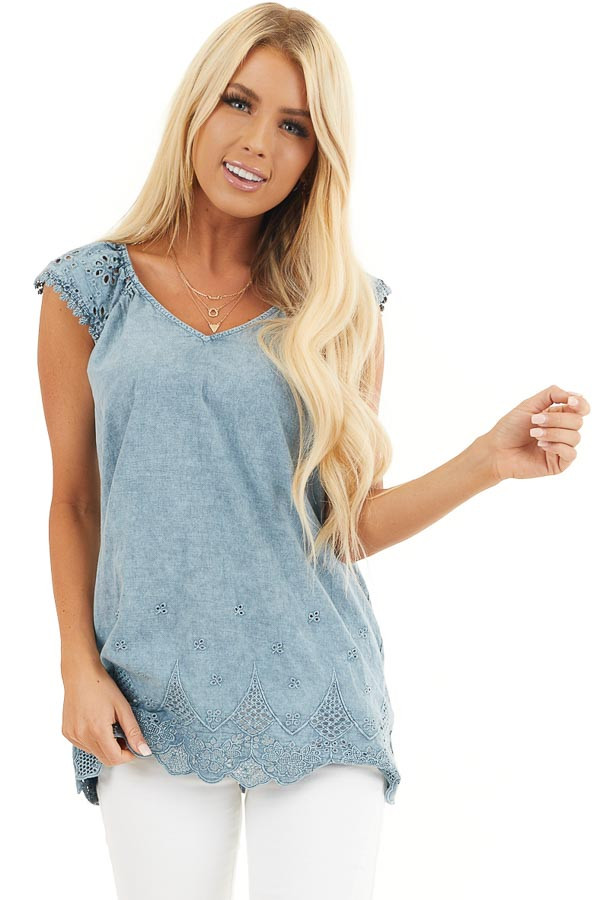 Faded Blue V Neck Top with Eyelet Lace Sleeves and Hemline front close up