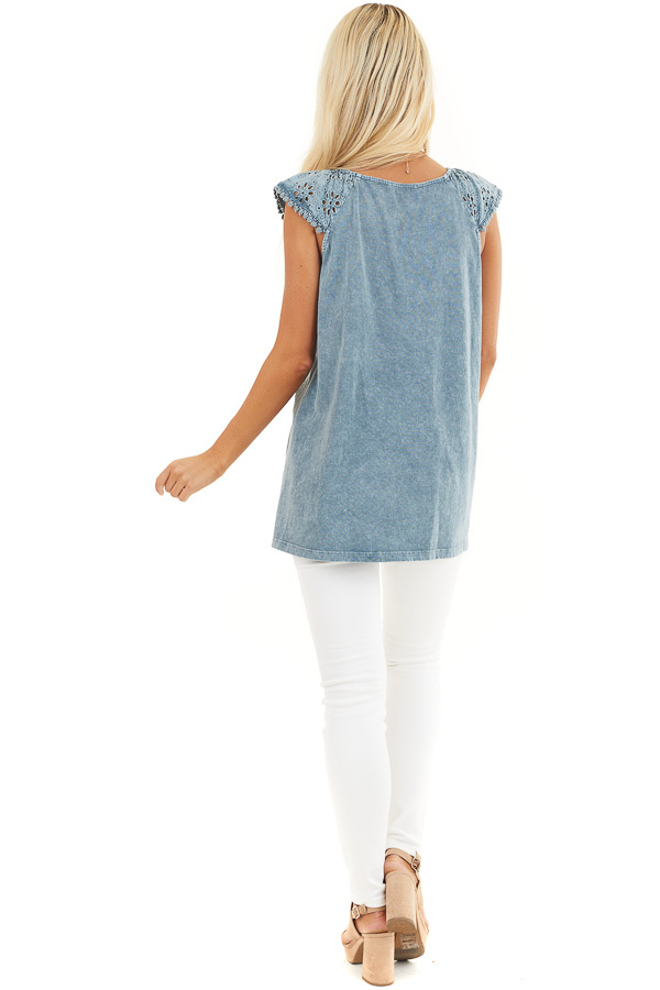 Faded Blue V Neck Top with Eyelet Lace Sleeves and Hemline back full body