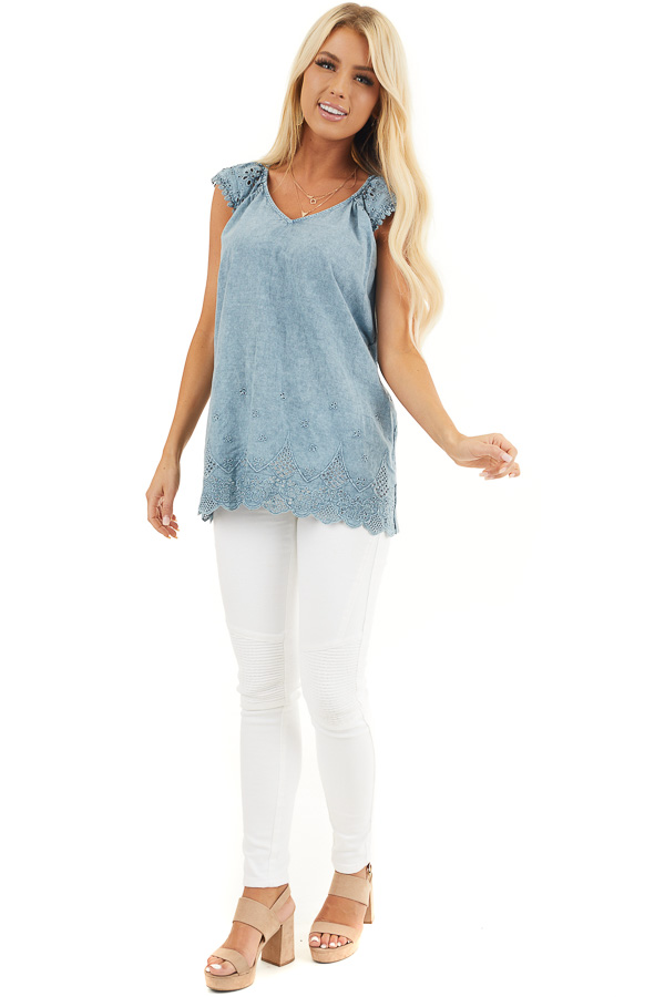 Faded Blue V Neck Top with Eyelet Lace Sleeves and Hemline front full body