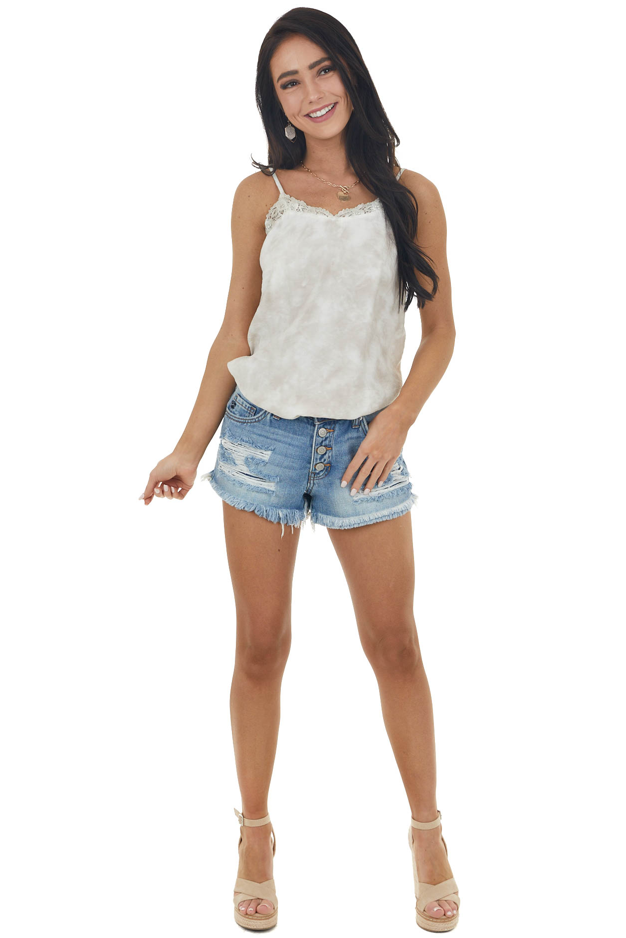 Khaki and Off White Tie Dye Tank with Lace Trim Neckline