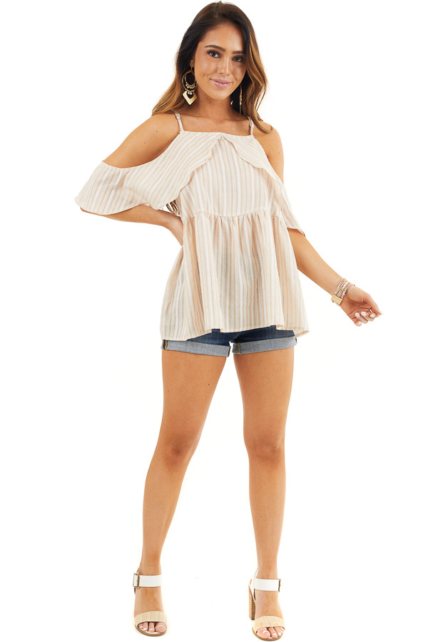 Cream Striped Cold Shoulder Woven Top with Ruffle Overlay front full body