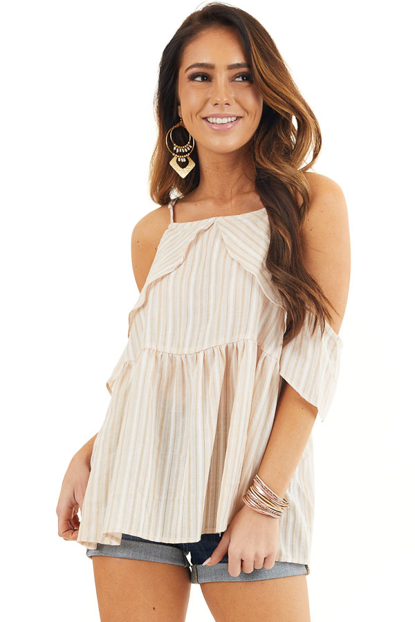 Cream Striped Cold Shoulder Woven Top with Ruffle Overlay front close up