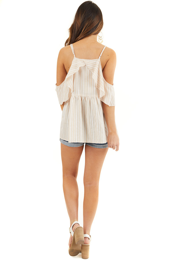Cream Striped Cold Shoulder Woven Top with Ruffle Overlay back full body