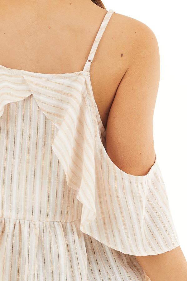 Cream Striped Cold Shoulder Woven Top with Ruffle Overlay detail