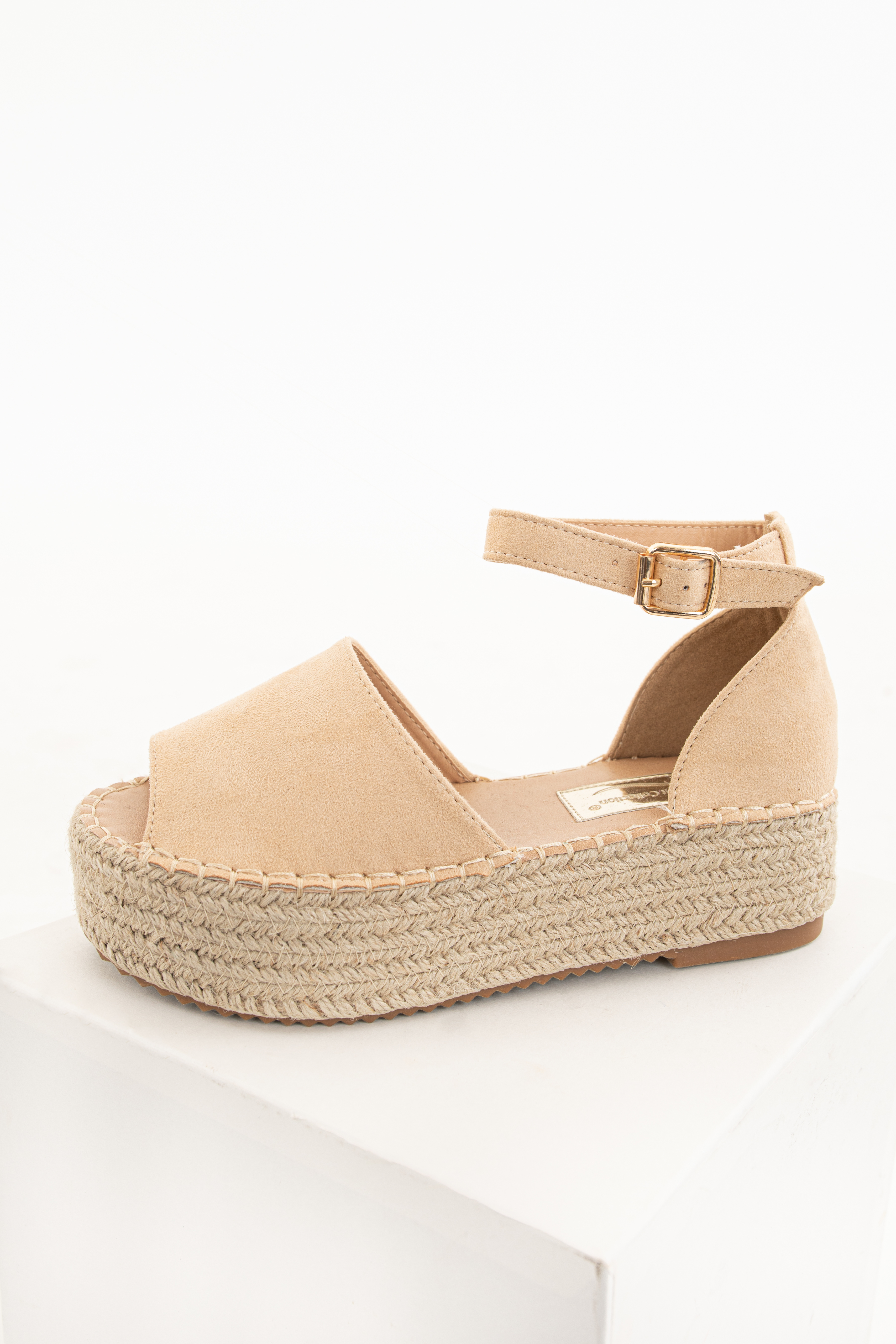 Nude Espadrille Open Toe Sandals with Ankle Strap