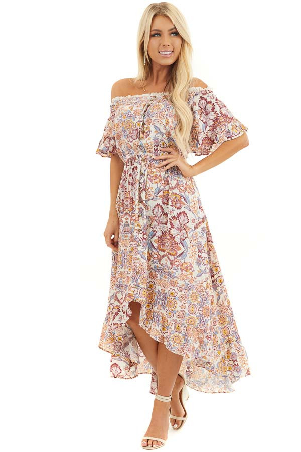 Cream Floral Off Shoulder Maxi Dress with Hi Low Hemline front full body