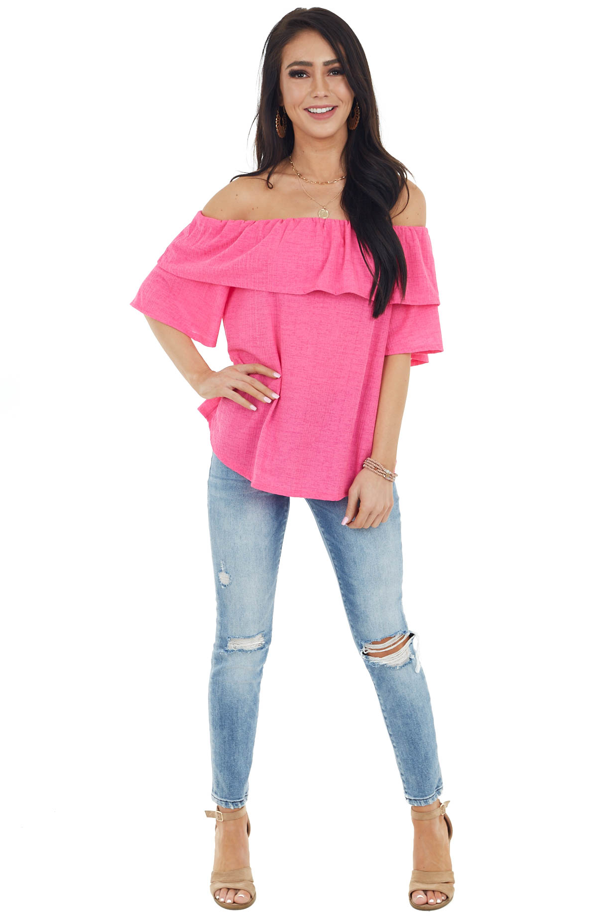 Hot Pink Textured Off Shoulder Top with Overlay Detail