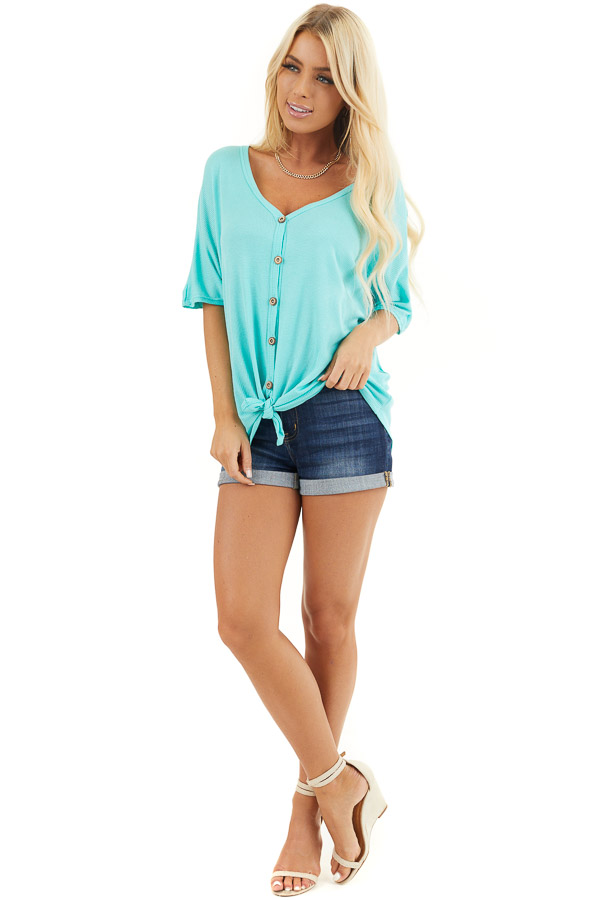 Aqua Button Up Waffle Knit Top with Front Knot Detail front full body