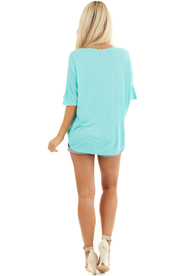 Aqua Button Up Waffle Knit Top with Front Knot Detail back full body
