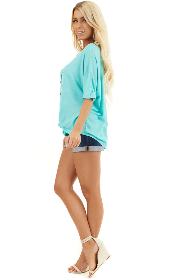 Aqua Button Up Waffle Knit Top with Front Knot Detail side full body